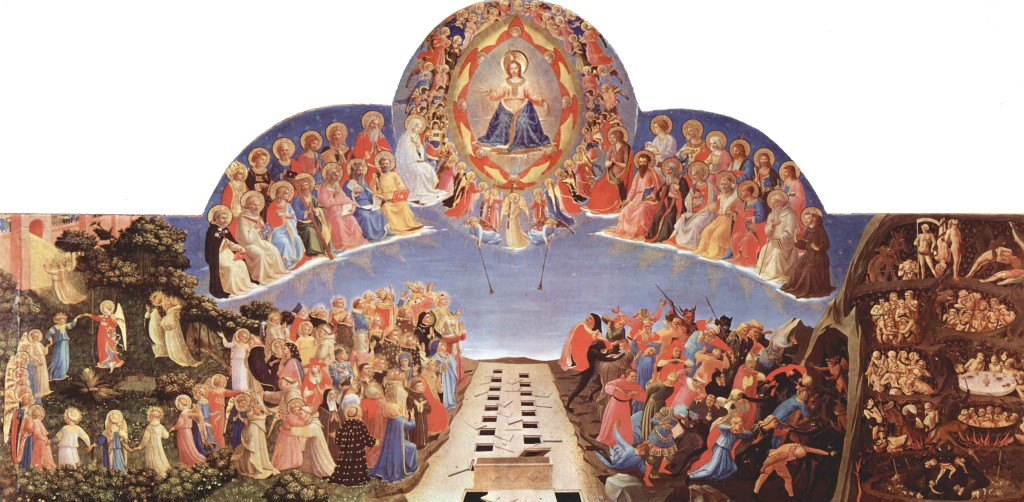 In this painting, The Last Judgment, the gluttons have actually become food. The eaters are being eaten (right side of image). Click to enlarge.