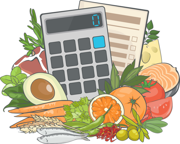 Illustration of a nutriton calculator surrourded by healthy foods