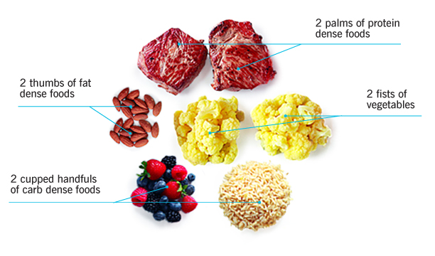 Hand portions of food for V type (mesomorph) body type eating. 1 cupped handfuls of carb dense foods, 1 thumb of fat dense foods, 1 fists of vegetables and 1 palms of protein dense foods.