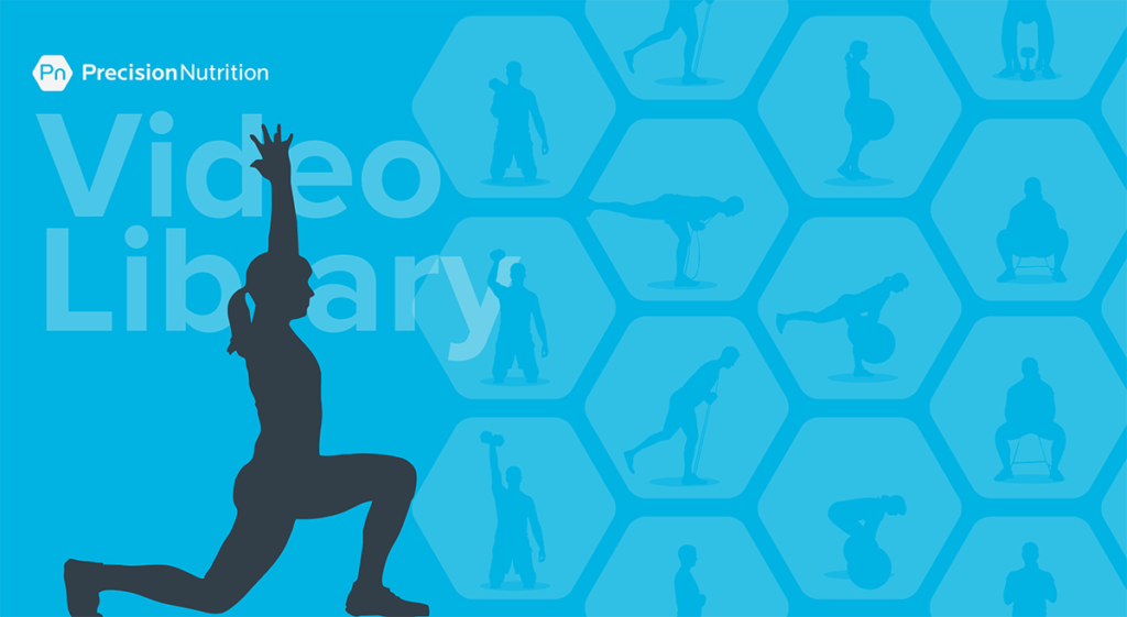 Silhouette of a person doing a forward lunge with arms stretched overhead. In the background, hexagons with silhouettes of people doing various fitness movements.