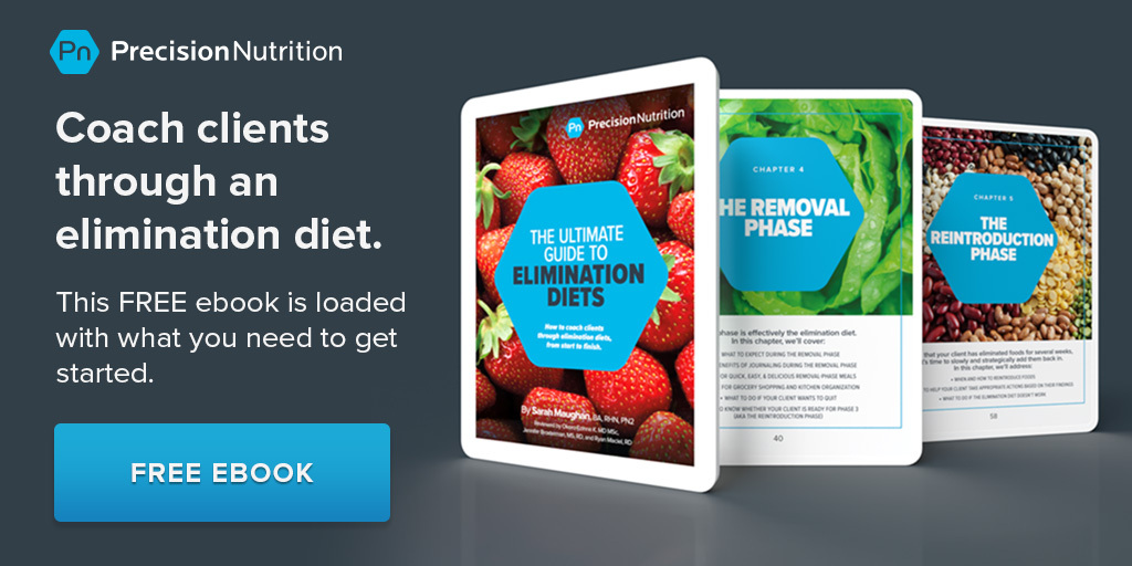 Three lesson covers of the PN Elimination Diet Ebook displayed on tablets.
