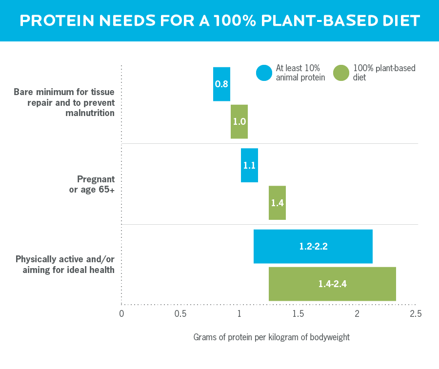 A bar graph showing that people who eat a fully plant-based diet need more protein than those who eat animal protein.