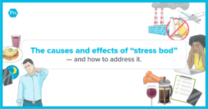 Illustrations of different causes of stress bod surrounding text.