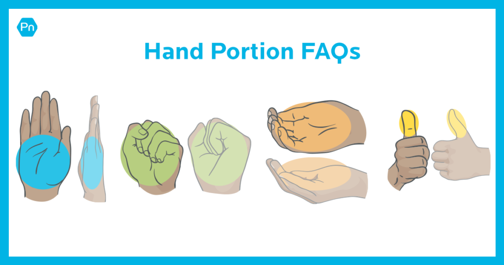 Close-up of various hands representing how to use hands to gauge food portions.